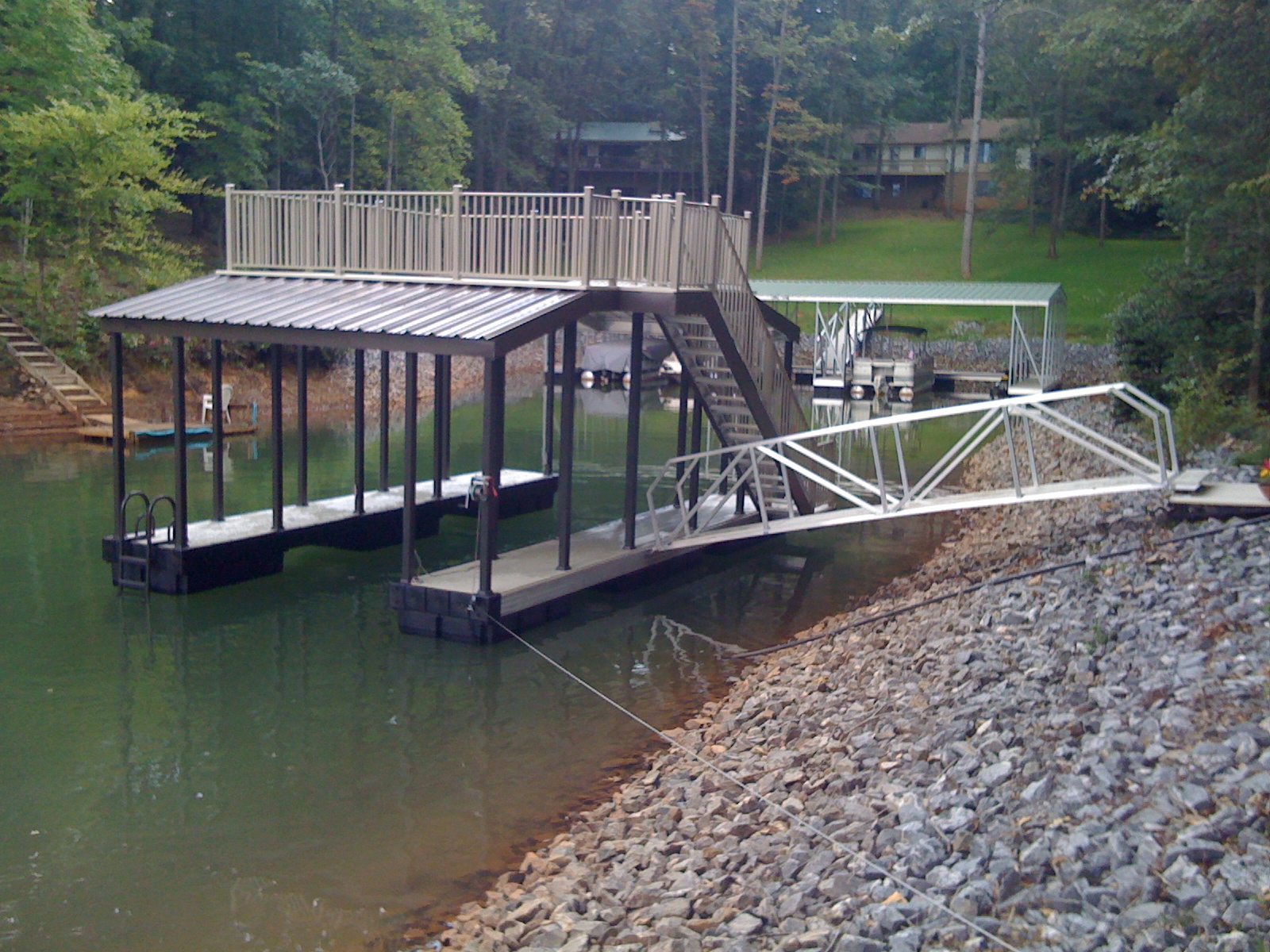 two level lake dock design from wahoo docks